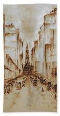 Old Philadelphia City Hall 1920 - Pencil Drawing Bath Towel