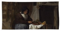Old Woman At Her Meal In An Interior Hand Towel