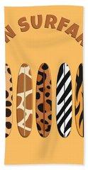 On Surfari Animal Print Surfboards  Bath Towel