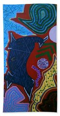 Bath Towel featuring the painting Orange Abstract Panel  by Samantha Galactica