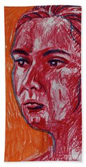 Orange And Red With Blue Hand Towel