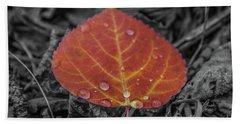 Orange Aspen Leaf Hand Towel