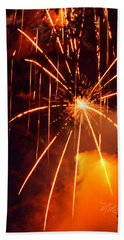Orange Fireworks Bath Towel