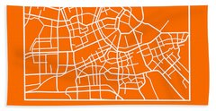 Orange Map Of Amsterdam Hand Towel