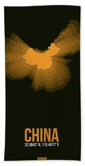 Orange Map Of China  Bath Towel