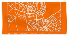Orange Map Of Havana Bath Towel