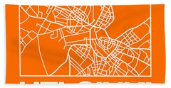 Orange Map Of Helsinki Bath Towel