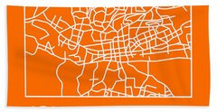 Orange Map Of Johannesburg Hand Towel