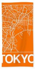 Orange Map Of Tokyo Hand Towel