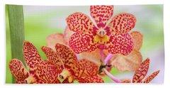 Orange Spotted Orchids Bath Towel