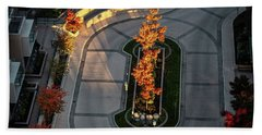Orange Trees In Autumn Bath Towel