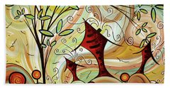 Original Whimsical Houses Landscape Paintings Fire Poppies By Megan Duncanson Hand Towel