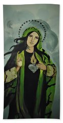 Bath Towel featuring the painting Our Lady Of Veteran Suicide by MB Dallocchio