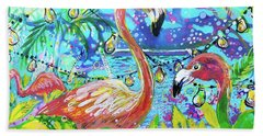 Bath Towel featuring the painting Outdoor Flamingo Party by Tilly Strauss