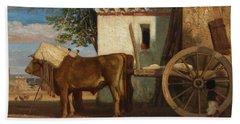 Oxen Before A Farmhouse At Le Verrier, 1853 Hand Towel