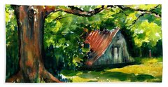 Ozarks Barn In Boxley Valley - Late Summer Hand Towel