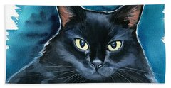 Ozzy Black Cat Painting Bath Towel
