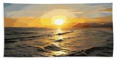 Pacific Sunset Impressionism, Santa Monica, California Hand Towel