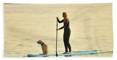 Paddleboarding With Her Dog Hand Towel