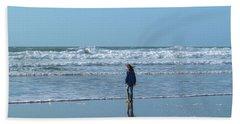 Paddling At Sandymouth Beach North Cornwall Hand Towel