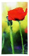 Painted Poppy Abstract Bath Towel