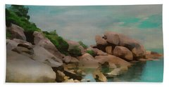 Painted Rocks At Full Tide Bath Towel