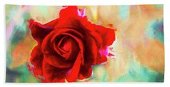 Painted Rose On Colorful Stucco Bath Towel