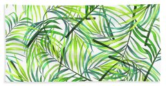 Palm Leaf Pattern 1 - Tropical Leaf Pattern - Green, White - Tropical, Botanical Pattern Design Hand Towel