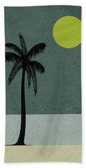 Palm Tree And Yellow Moon Hand Towel