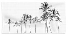 Palm Tree Horizon In Black And White Bath Towel
