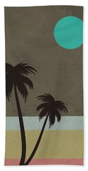 Palm Trees And Teal Moon Hand Towel