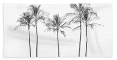 Palm Trees On The Beach In Black And White Hand Towel