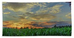 Panoramic Cornfield Sunset Hand Towel