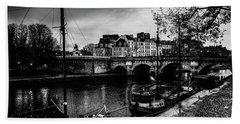 Paris At Night - Seine River Towards Pont Neuf Hand Towel