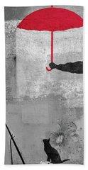 Paris Graffiti Man With Red Umbrella Hand Towel