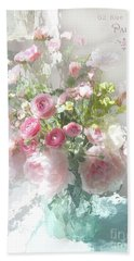 Paris Impressionistic Pastel Fleurs - Paris Flower Market Romantic Impressionistic Floral Home Decor Hand Towel
