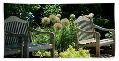 Park Benches At Chicago Botanical Gardens Hand Towel