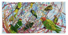 Bath Towel featuring the painting Parrot Bramble by Tilly Strauss