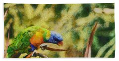 Bath Towel featuring the painting Parrot Paradise by Harry Warrick