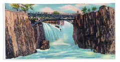 Passaic Falls And Chasm Bridge Paterson N J  Hand Towel
