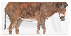 Pasture Boss 2015 Watercolor Painting By Kmcelwaine Bath Towel