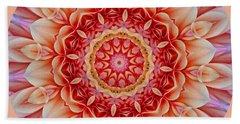 Peach Floral Mandala Bath Towel