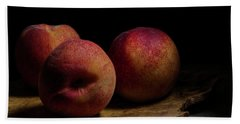 Peaches On Wood Plate Bath Towel