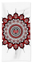Peacock Feathers Mandala In Black And Red Hand Towel
