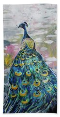 Bath Towel featuring the painting Peacock In Dappled Light by Tilly Strauss