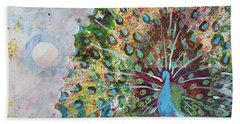 Peacock In Morning Mist Hand Towel