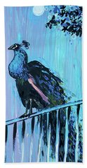 Peacock On A Fence Hand Towel