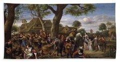 Peasants Merrymaking Outside An Inn, Fair At Warmond Hand Towel