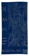 Pek Beijing Capital Airport Blueprint Hand Towel