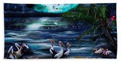 Pelicans On The Shore Bath Towel